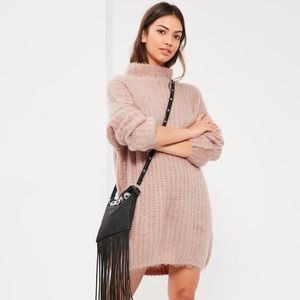 NWT Missguided Chunky Stitch Mini Dress Rose Sz 2